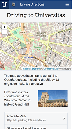iframe (OpenStreetMap, mixed with a simple Collage hero title, text block, feature block, and links block)