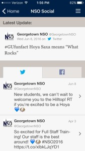 Georgetown NSO Social Feeds