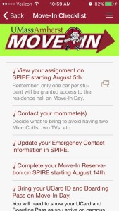 UMass Amherst Move-In Checklist