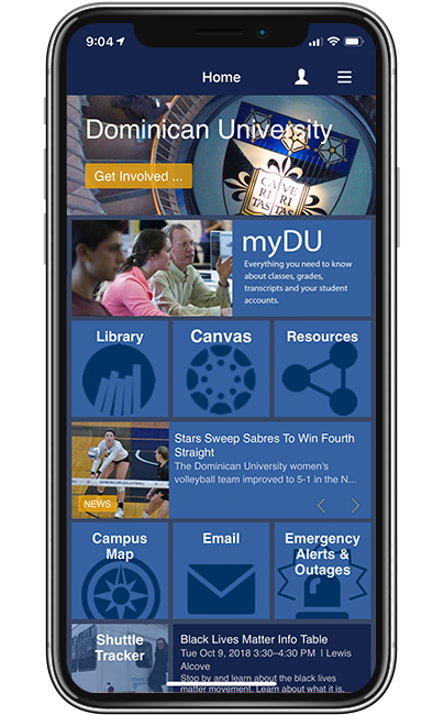 Dominican University home screen