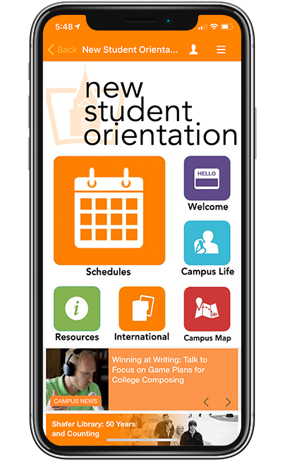 Findlay University New Student Orientation screen