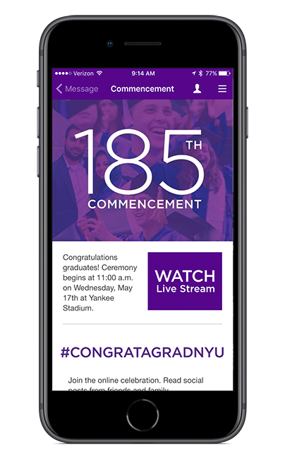 NYU Commencement screen