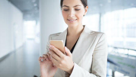 Corporate Employee looking at phone