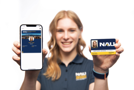 Person holding phone with modolabs app with digitized school id